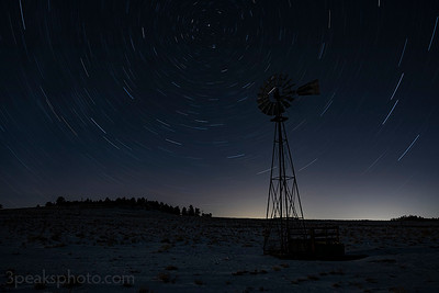 32 minute exposure as the moon was setting, the moon illumintated the windmill for about half the exposure time