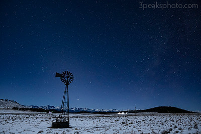 Jupiter/Saturn conjunction to the right of windmill just above mountains