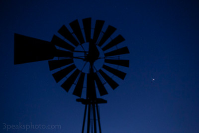 Jupiter/Saturn conjunction to the right of windmill
