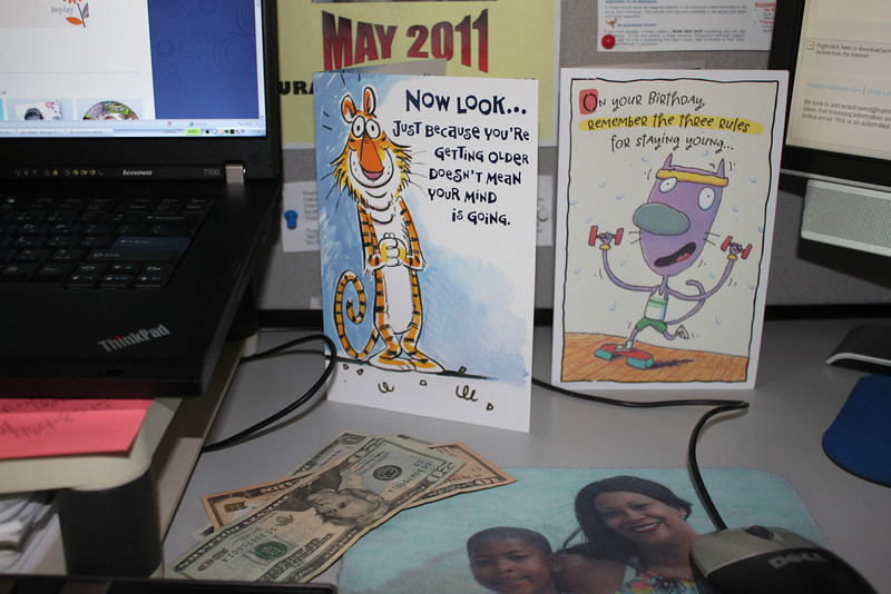 Cards from the kids. And money in them as well.