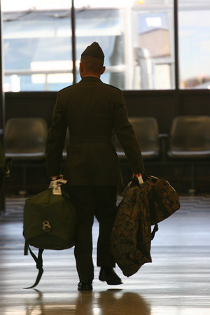 anonymous soldier in airport
