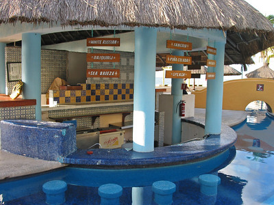 The pool bar at our hotel in Playa del Carmen, Mexico