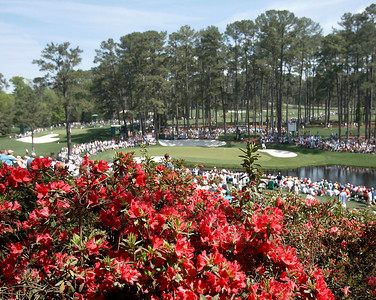 Azaleas adorn the hillside above the 16th hole during the Wednesday Practice Day at the 2010 Masters at Augusta National Golf Club.