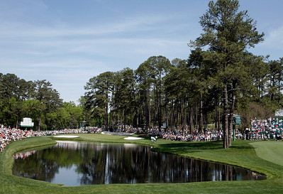 The picturesque pond area in front of the 16th green during the Wednesday Practice Day at the 2010 Masters at Augusta National Golf Club.