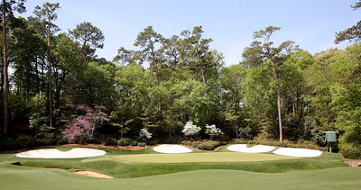 The thirteenth green awaits action during the Wednesday Practice Day at the 2010 Masters at Augusta National Golf Club.