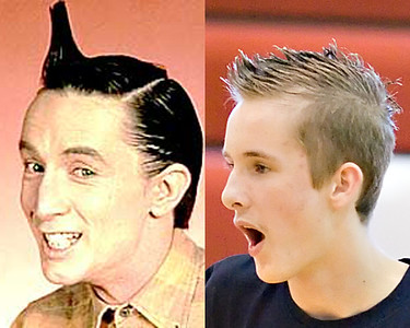 """It is no surprise that not all of these """"Separated at Birth"""" pictures are mine-  I am neither creative nor observant enough to think of some of these.  Credit Mrs. FF for spotting the similarity between this player from Mt View and Martin Short's  """"Wheel of Fortune"""" obsessed character of Ed Grimley."""