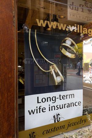 Long Term Wife Insurance Sign at Jeweler in Estes Park, Colorado