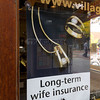 Long Term Wife Insurance Sign at Jeweler in Estes Park, Colorado