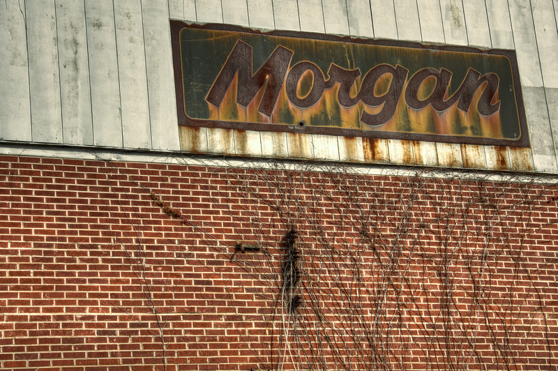 """<h3 style=""""text-align: left;""""><strong>Today's Photo:  Morgan's</strong></h3> I found this abandoned building near Cartersville Georgia.  I have no idea what the original purpose of the building was, but the building is very large.  Now it is open to on one side due to the complete collapse of that wall.  This is what remains of the signage from the building.  - Daryl Clark  Read more at the <a href=""""http://justshootingmemories.com"""" rel=""""nofollow"""">Daily Photography Blog</a> Just Shooting Memories!..."""