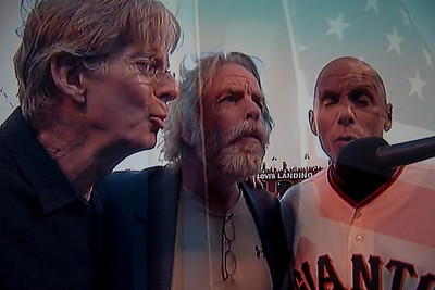 Phil Lesh, Bob Weir, Tim Flannery,Giants Third Base Coach, sing the National Anthem at game 2 of NLCS at AT&T Park San Francisco Cal 10/15/12 Giants win 7-1