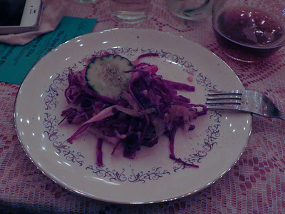 """The Last Chili"" Cabbage Slaw Red Cabbage Radish Lime Cilantro Garlic Vinaigrette Accompanying Cocktail- Carla Blanca"