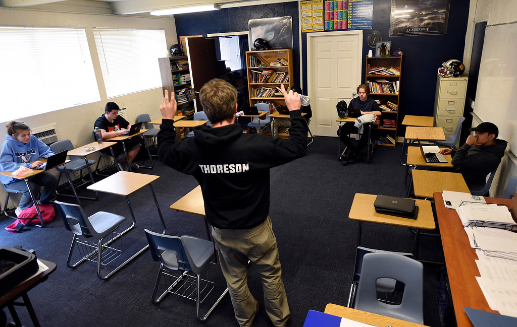 . LAFAYETTE, CO - APRIL 2:Nels Thoreson teaches language arts on April 2, 2019. Thereon is also the football coach. Justice High is hoping to win a competitive state grant to renovate its aging building and hoping Boulder Valley School District will provide matching funds.  (Photo by Cliff Grassmick/Staff Photographer)