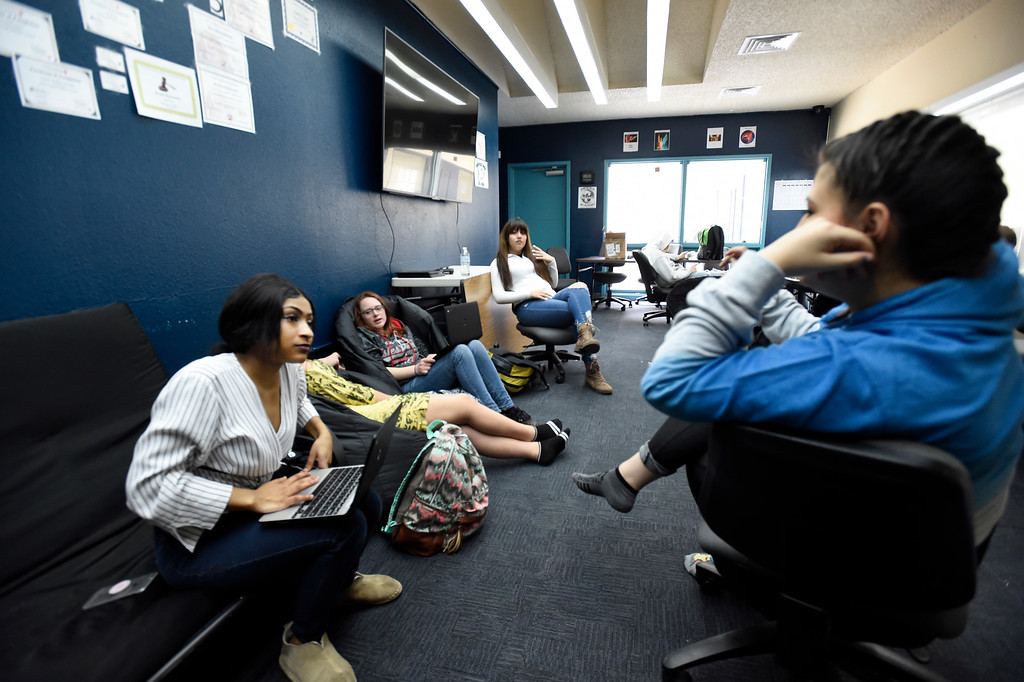 . LAFAYETTE, CO - APRIL 2:Students gather in the all purpose break room between classes on April 2, 2019. Justice High is hoping to win a competitive state grant to renovate its aging building and hoping Boulder Valley School District will provide matching funds.  (Photo by Cliff Grassmick/Staff Photographer)