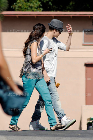 Justin Bieber visits Selena Gomez during Selena set of Parental Guidance Suggested in Los Angeles,California.