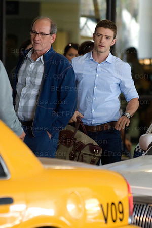 "Justin Timberlake and Richard Jenkins,director Will Gluck during the set of "" Friends With Benefits "" in Los Angeles Airport.California on September 13, 2010."