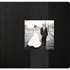 10x10 Linear book in black leather with a vertical stripe.