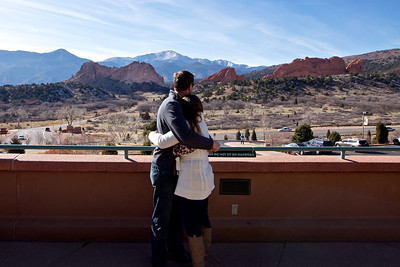 Looking at Garden of the Gods and Pikes Peak.