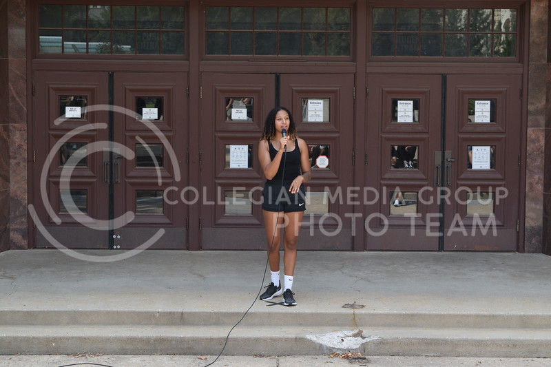 K-State junior Women's Basketball player Christianna Carr speaks at Ahearn Fieldhouse during the K-State Athletics March Against Injustice on August 30, 2020. (Cameron Bradley | Collegian Media Group)