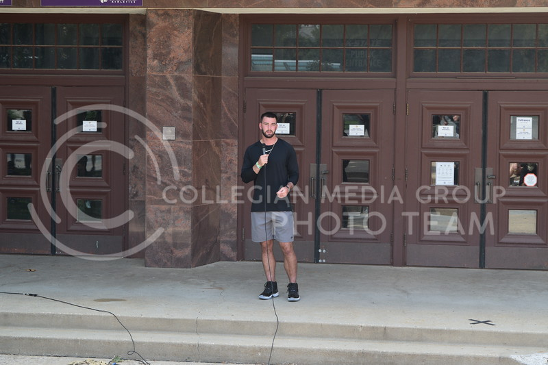 K-State senior quarterback Skylar Thompson speaks at Ahearn Fieldhouse during the K-State Athletics March Against Injustice on August 30, 2020. (Cameron Bradley | Collegian Media Group)