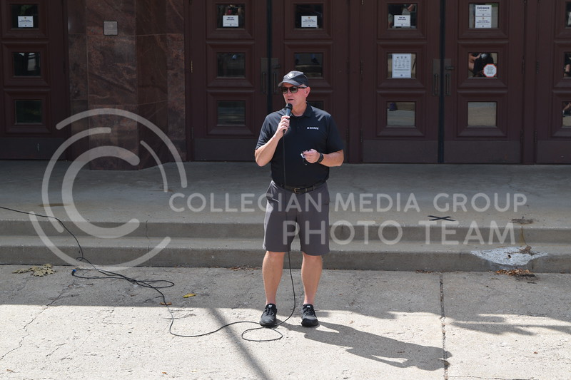 K-State Athletic Director Gene Taylor speaks at Ahearn Fieldhouse during K-State Athletics Walk Against Injustice on August 30, 2020. (Cameron Bradley | Collegian Media Group)