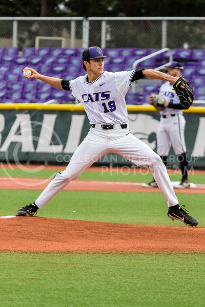 Sophmore Caleb Littlejim Pitches against the Omaha Mavericks on March 27 2018 (Alex Shaw | Collegian Media Group)
