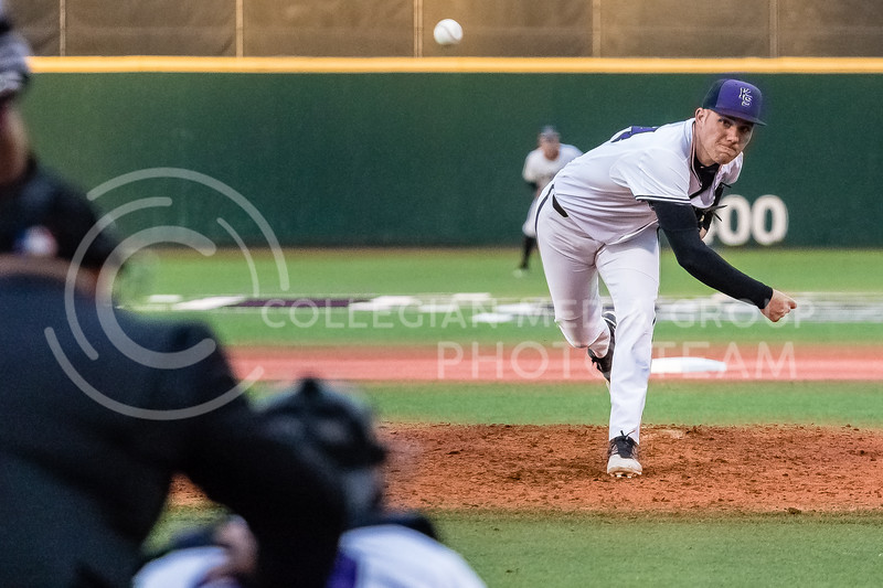 Freshmen Jordan Maxson Pitches against the Omaha Mavericks on March 27 2018 (Alex Shaw | Collegian Media Group)
