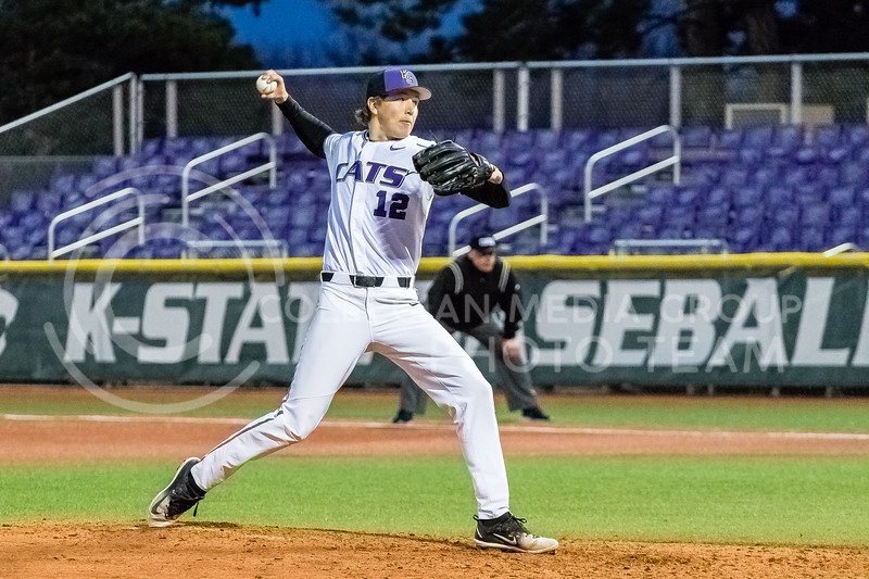Sophmore Tyler Eckberg pitches against the Omaha Mavericks on March 27 2018 (Alex Shaw   Collegian Media Group)