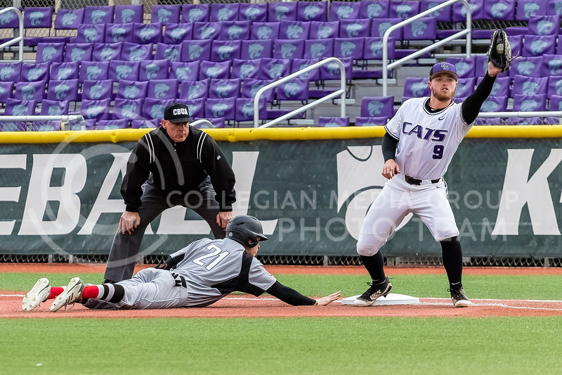 Senior Trent McMaster makes a catch on first base during a game against the Omaha Mavericks on March 27 2018 (Alex Shaw | Collegian Media Group)