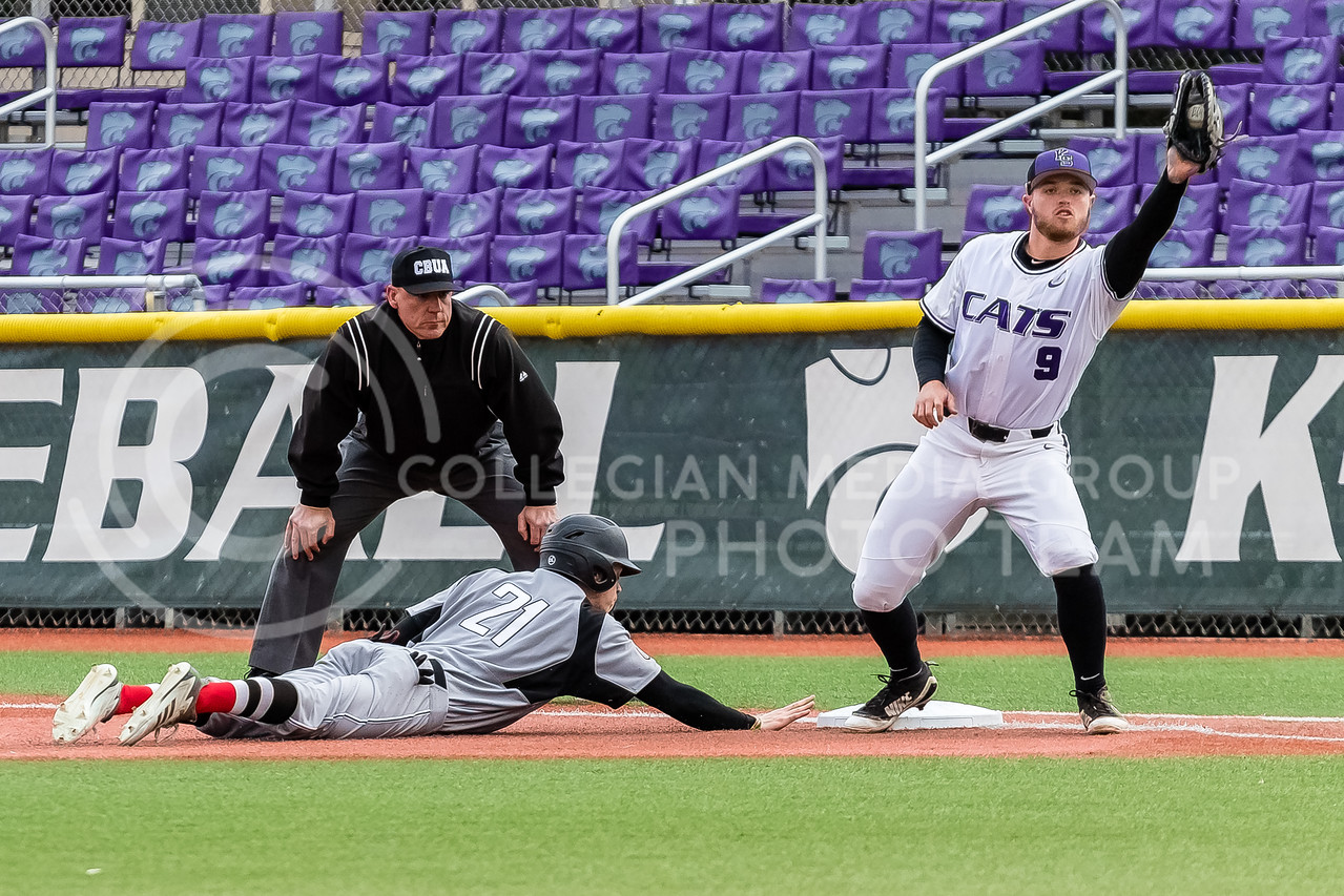 Senior Trent McMaster makes a catch on first base during a game against the Omaha Mavericks on March 27 2018 (Alex Shaw   Collegian Media Group)