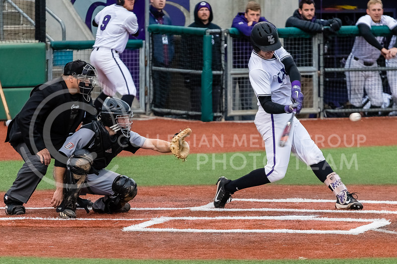 Junior Rainer Ausmus swings at the ball during a game against against the Omaha Mavericks on March 27 2018 (Alex Shaw | Collegian Media Group)