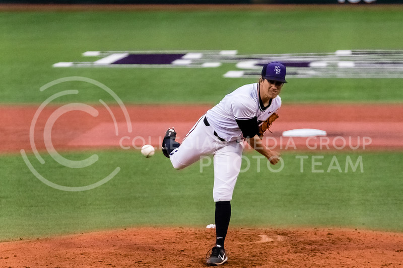 Freshmen Andrew Stratman Pitches against the Omaha Mavericks on March 27 2018 (Alex Shaw | Collegian Media Group)