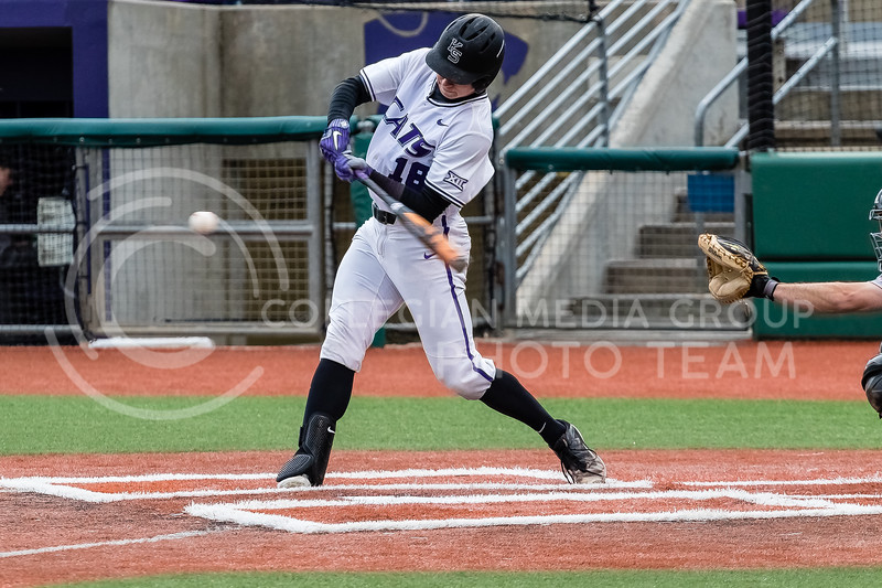 Sophmore Will Brennan swings at the ball during a game against against the Omaha Mavericks on March 27 2018 (Alex Shaw   Collegian Media Group)