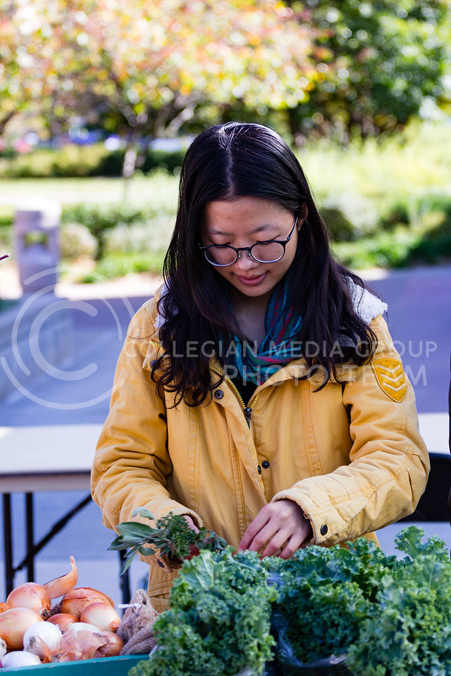 Huan Guo wraps produce in twine to be sold at Willow Lake Student Farm's Table at the K-State Farmers Market on the 25th October, 2017 (Alex Shaw | Collegian Media Group)