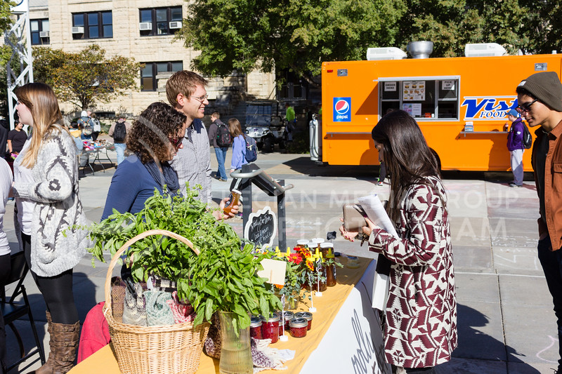 Jen and Matt Campbell sell goods from Wooley Bee Farm at the K-State Farmers Market on 25th October, 2017 (Alex Shaw   Collegian Media Group)