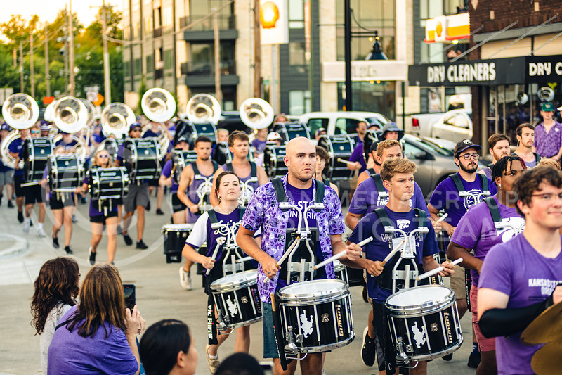 K-State Marching Band plays in Aggieville to kick off the semester on Aug 21st. (Dylan Connell | Collegian Media Group)