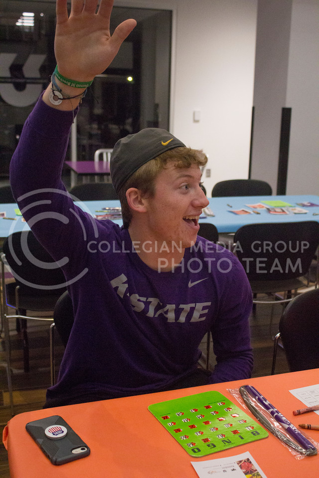 T.C. Poynter, freshman in elementary education, participates in bingo in the K-State Student Union courtyard on Oct. 20, 2017. (Maddie Domnick | Collegian Media Group)