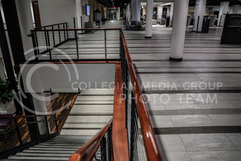 The center stairwell leading up to the second floor of the student union. (Photo by Cooper Kinley | Collegian Media Group)