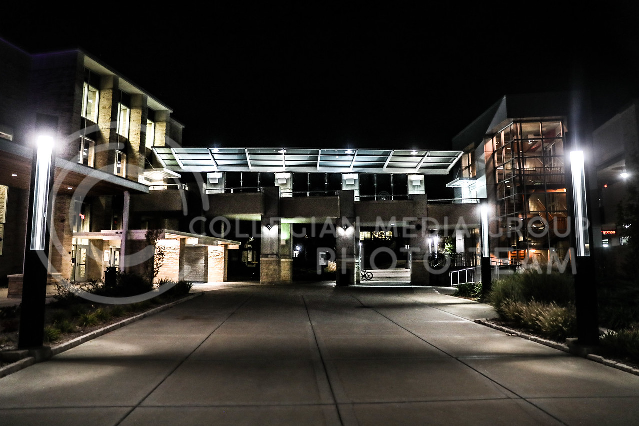 A covered elevated walkway connects the parking garage to the second floor of the student union. (Photo by Cooper Kinley | Collegian Media Group)
