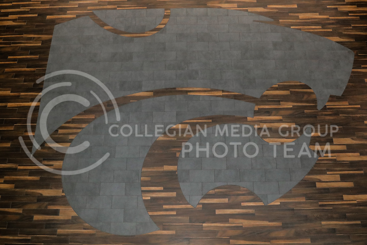 The wildcat logo printed on the floor of the atrium in the Student Union. (Photo by Cooper Kinley | Collegian Media Group)