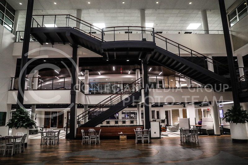 A view of the main stairwell from the base of the atrium in the Student Union. (Photo by Cooper Kinley | Collegian Media Group)