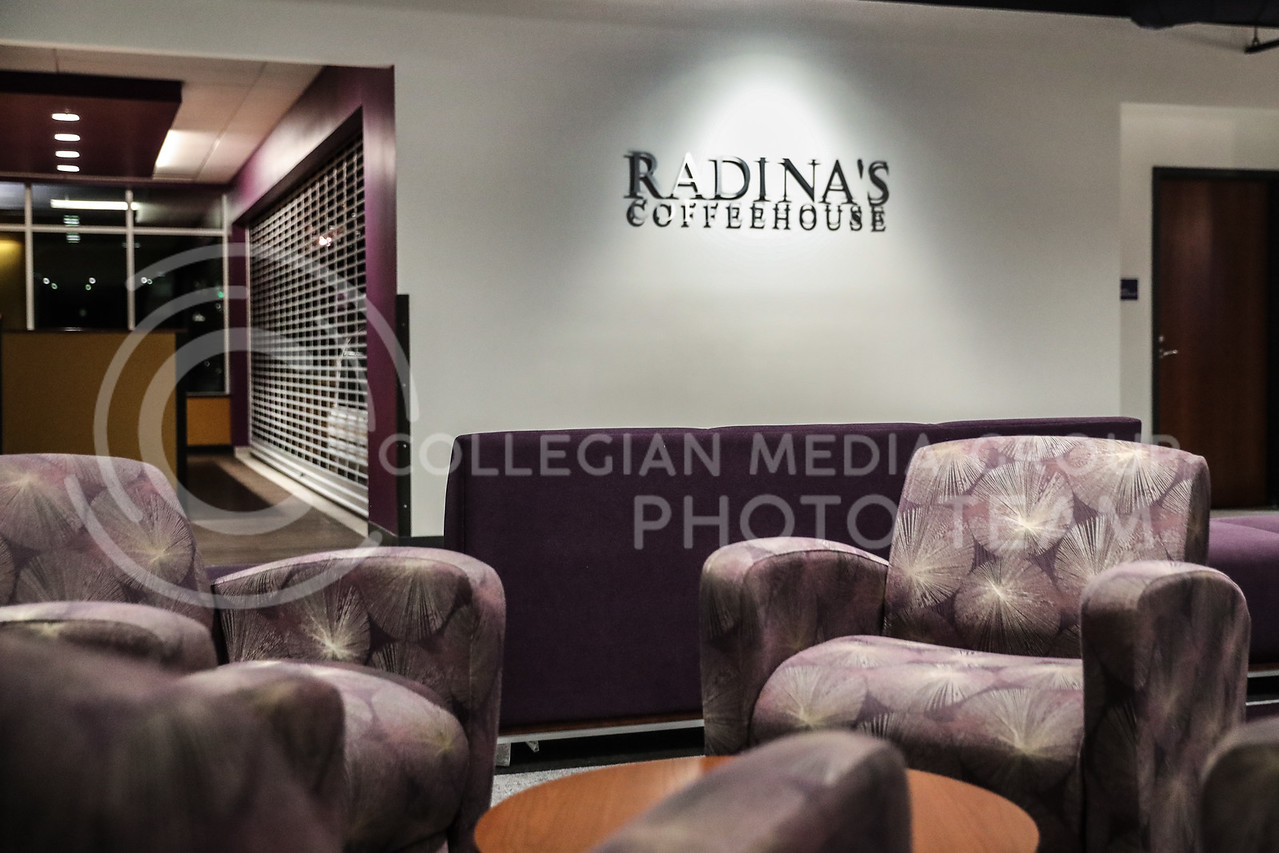 A sitting area right beside Radina's Coffee House. (Photo by Cooper Kinley | Collegian Media Group)