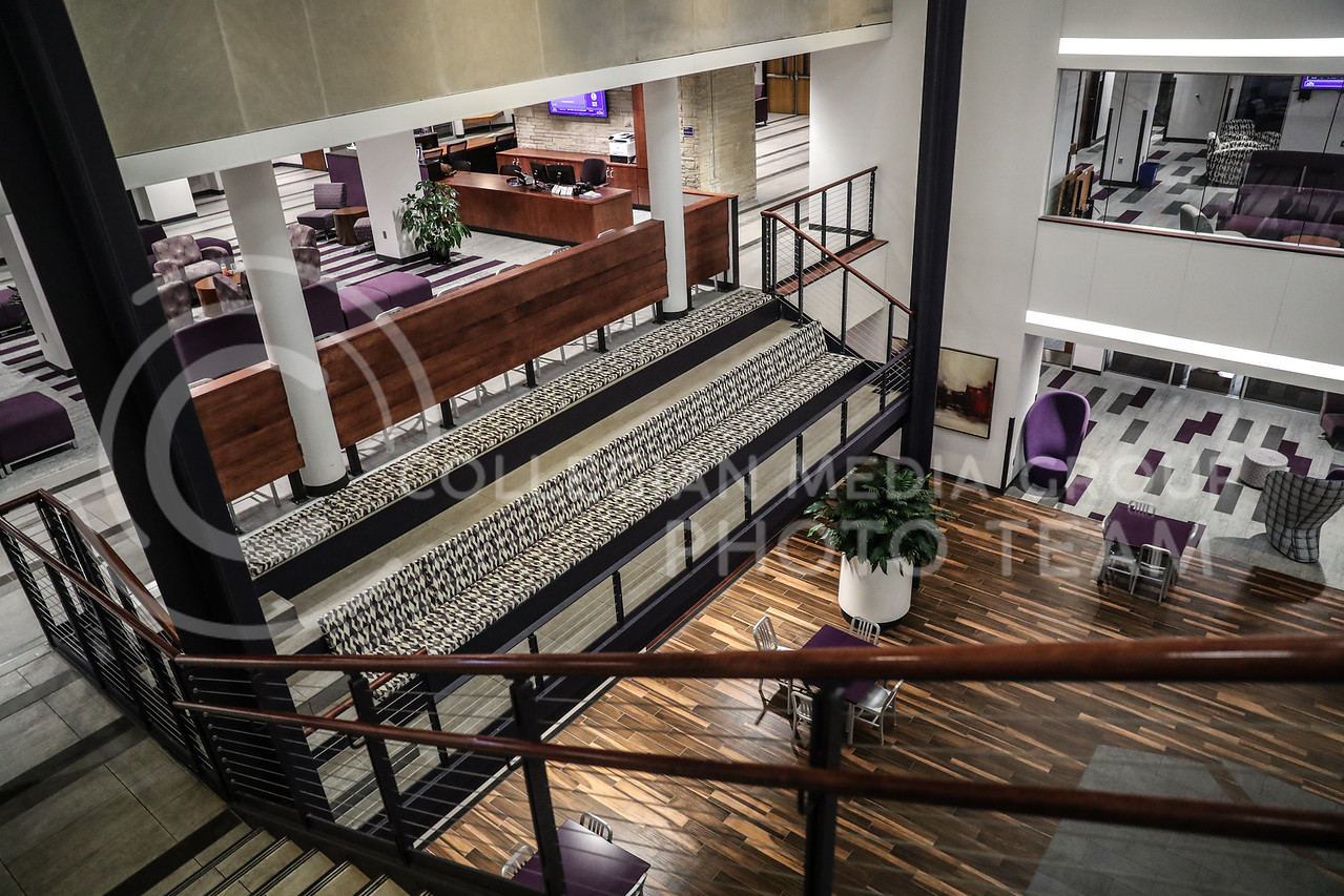 The bleacher sitting area that views over the atrium in the Student Union. (Photo by Cooper Kinley | Collegian Media Group)
