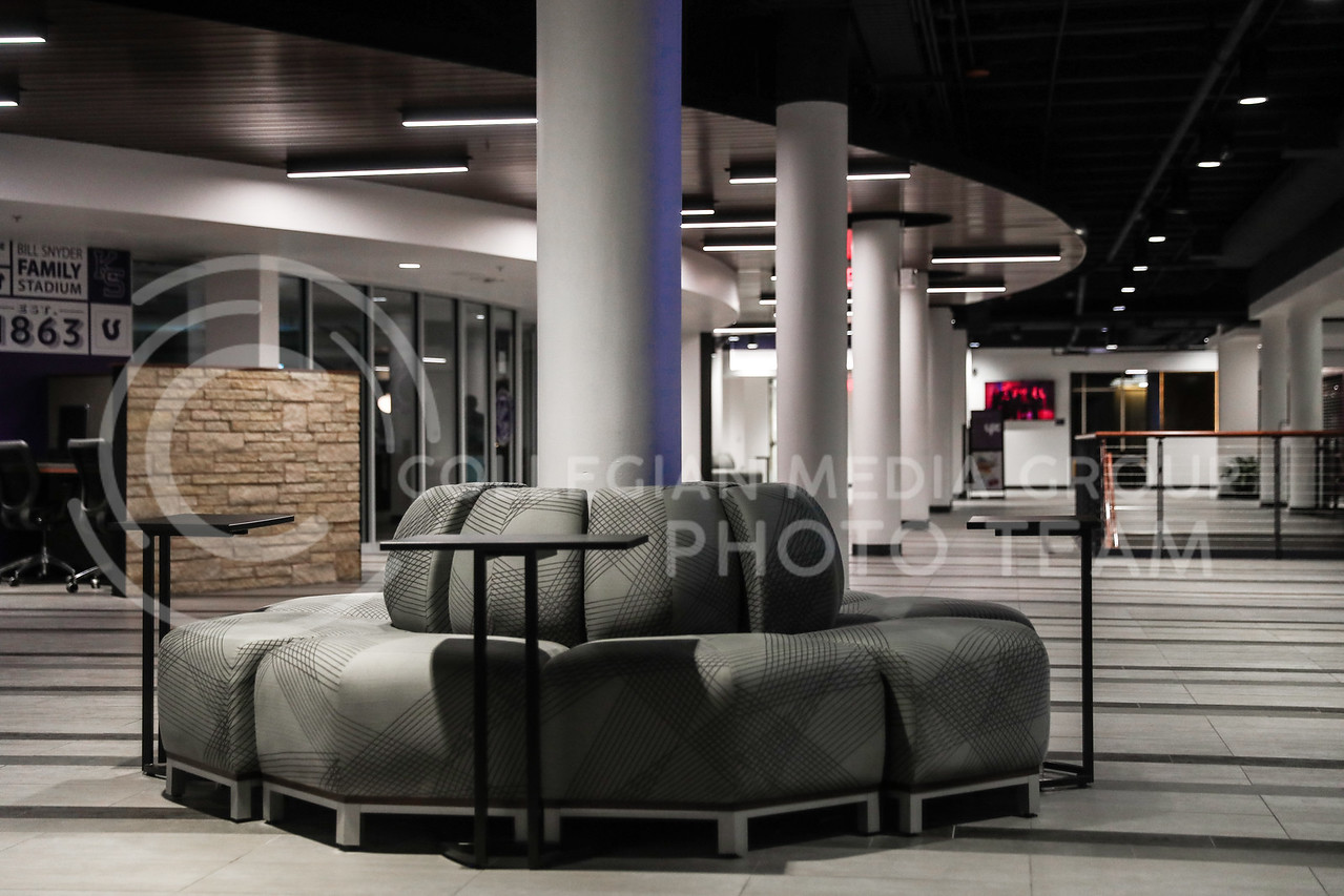 A sitting area with small moveable tables in the student union.  (Photo by Cooper Kinley | Collegian Media Group)