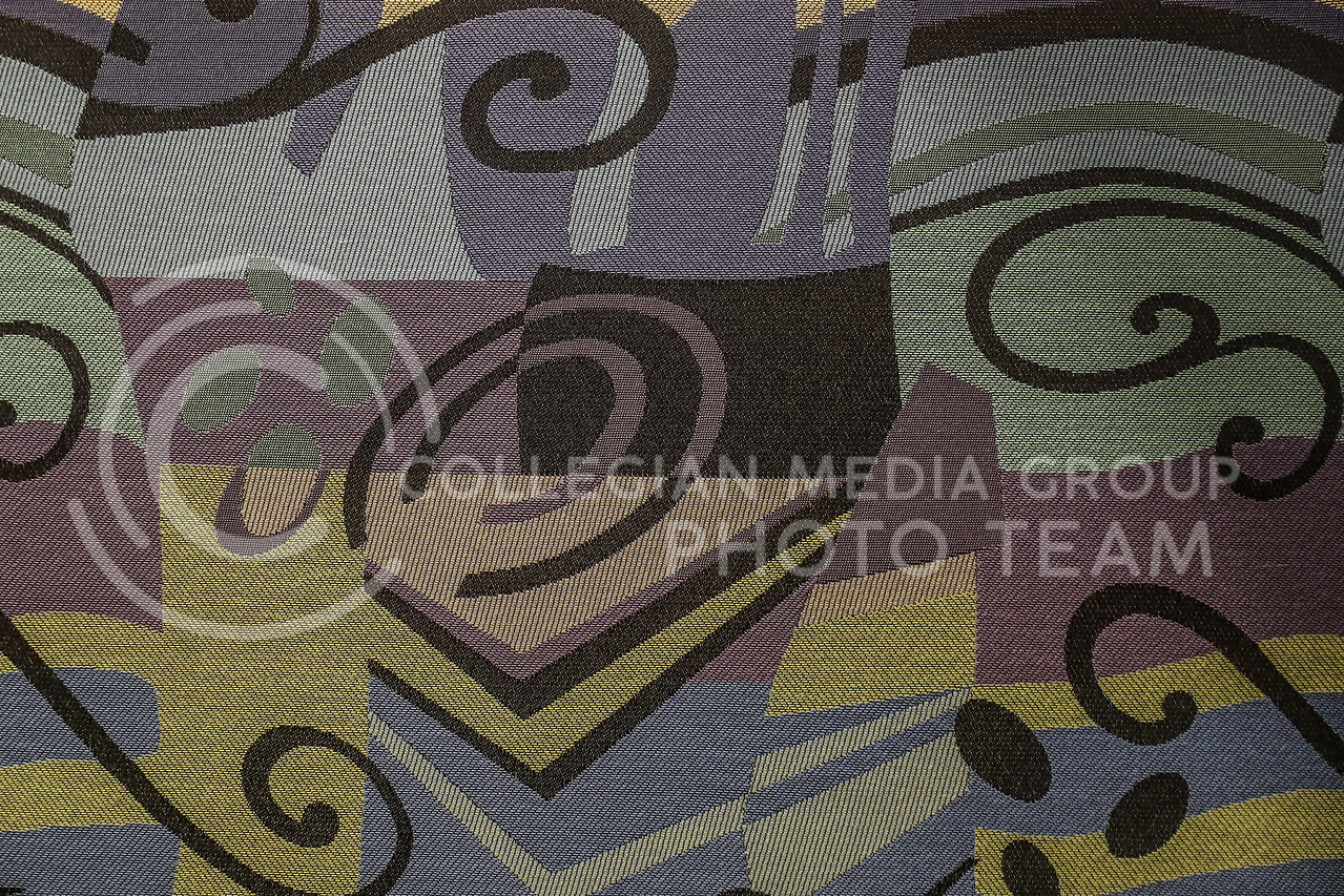 One of the new fabric choices for the renovated student union.  (Photo by Cooper Kinley | Collegian Media Group)