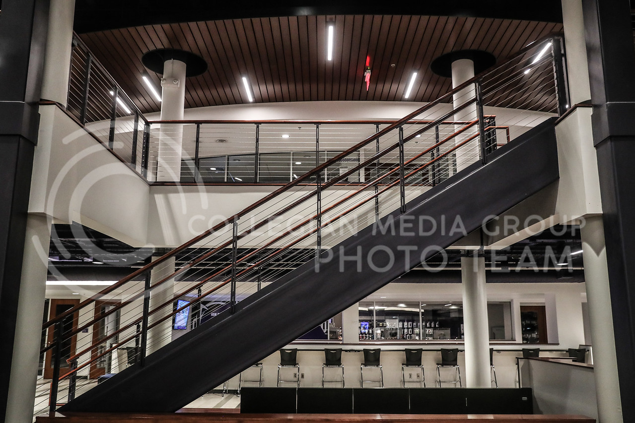 The main center-stairwell that connects the first floor of the union to the second floor. (Photo by Cooper Kinley | Collegian Media Group)