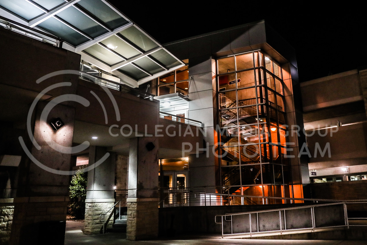 The Parking garage and the walkway that connects it to the student union. (Photo by Cooper Kinley | Collegian Media Group)