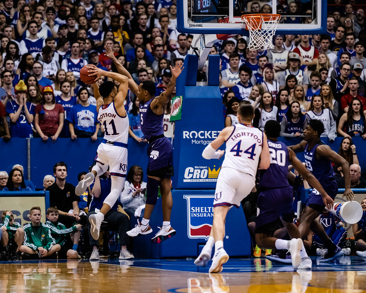 The Kansas State Wildcats played against the Kansas Jayhawks at Allen Fieldhouse on Monday Feb. 26, 2019 losing 64-49. (Olivia Bergmeier | Collegian Media Group)f