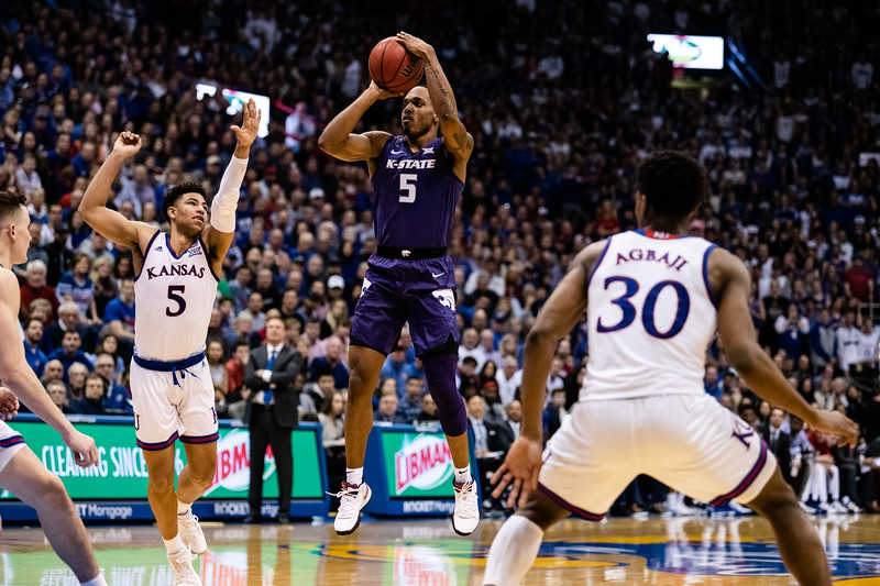 The Kansas State Wildcats played against the Kansas Jayhawks at Allen Fieldhouse on Monday Feb. 26, 2019 losing 64-49. (Olivia Bergmeier | Collegian Media Group)