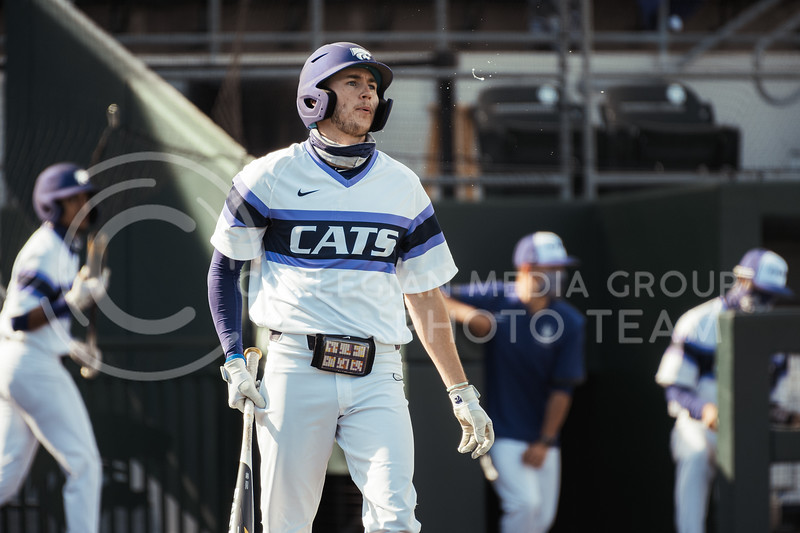 K-State starter, Caleb Littlejim, frustrated after striking out, ending the inning for K-State. Littlejiim finished the game with two hits. K-State took the series with an 11-3 Win over WMU at Tointon Family Stadium on Feb 27, 2021. (Dylan Connell | Collegian Media Group)