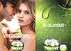 DONNA KARAN DKNY Be Delicious 2015 Spain (recto-verso with scent strip) The original scent for her by DKNY - Su regalo... una talla deluxe'<br /> <br /> MODELS: Abbey Lee Kershaw & Akin Akman; Photo: Mario Sorrenti